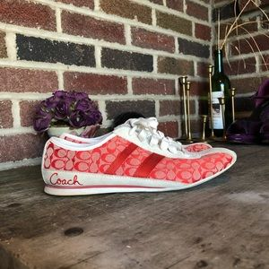 Coach lace up; red icon canvas & white leather